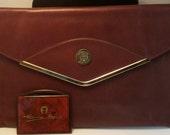 Etienne Aigner Oxblood Envelope Clutch with Free Mirror