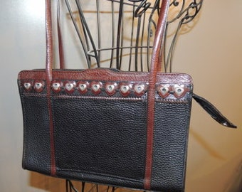 P000010 Authentic Brighton Black Convertible Leather Shoulder Bag Dark Brown Trim  Silver Hearts Studding -by God Oddities Decor on Etsy