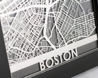 "Boston Massachusetts Stainless Steel Laser Cut Map - 5x7"" Framed 