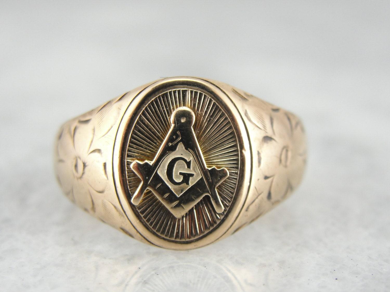 antique gold masonic ring 2v0t1q d