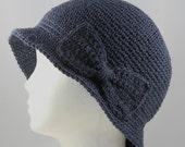 Custom Cloche Hat in Dark Denim Blue for Eve