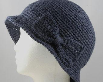 Cloche Hat in Dark Denim Blue for Cancer Patients