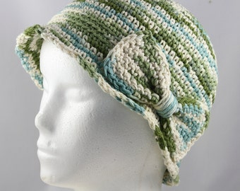 Cloche Hat in Green, Blue and Cream Ombre for Cancer Patients