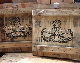 Vintage Ammo Crate/Box Sign - EOD Crab - Hand Painted