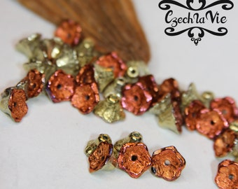 Czech Glass Flower Beads 7x5mm - Jet California Gold Rush (98542)