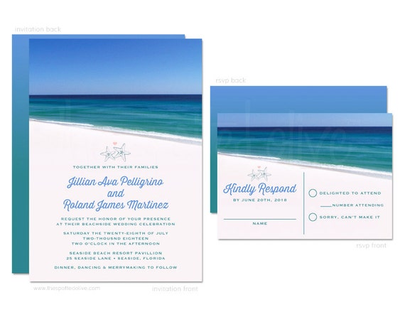 Printing Your Own Wedding Invitations: Beach Wedding Invitations And RSVP Cards
