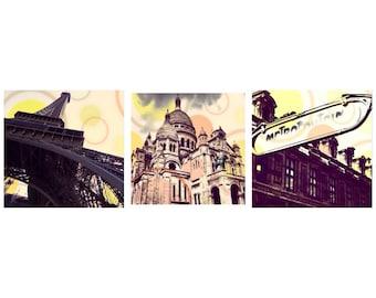 Parisian Photography, set of 3, Pop art wall decor, new nude roadside decor, Metropolitain, Urban scenes Vibrant art, Paris boho, cirle deco