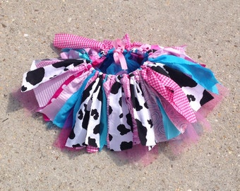 Pink and turquoise cowgirl tutu, barnyard birthday, Cowgirl costume - cowgirl tutu - Cowgirl birthday Tutu, shabby chic fabric tutu skirt