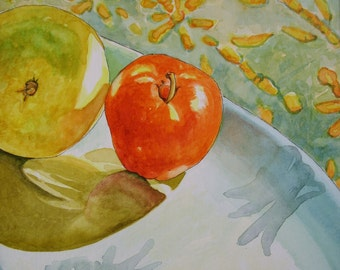 Shadow and Light-Fruit on Ceramic Plate with batik original Watercolor painting