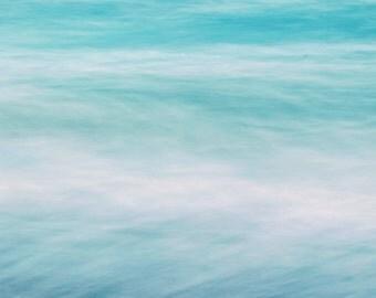 Abstract Ocean Photograph - Landscape, Wave, Summer, Beach, Malibu, Ocean, Green, Blue, Pastel, - Dazed