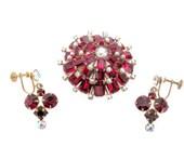 Vintage Red Rhinestone Brooch, Screw Back Earrings Set, 1960's Austria Brooch, Vintage Christmas Brooch, Red Earrings, Holiday Jewelry