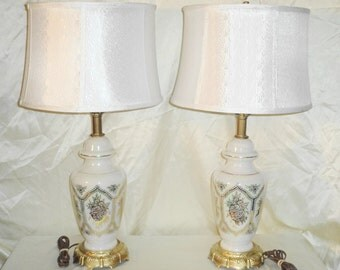 Vintage Table Lamps Set - 3-way Irridescent Glass w/ Gold Deco - by Accurate Casting - With Shades
