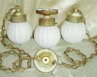 Vintage Mid Century Modern Hollywood Regency French Provincial Pendant Globes & Ceiling Fixture