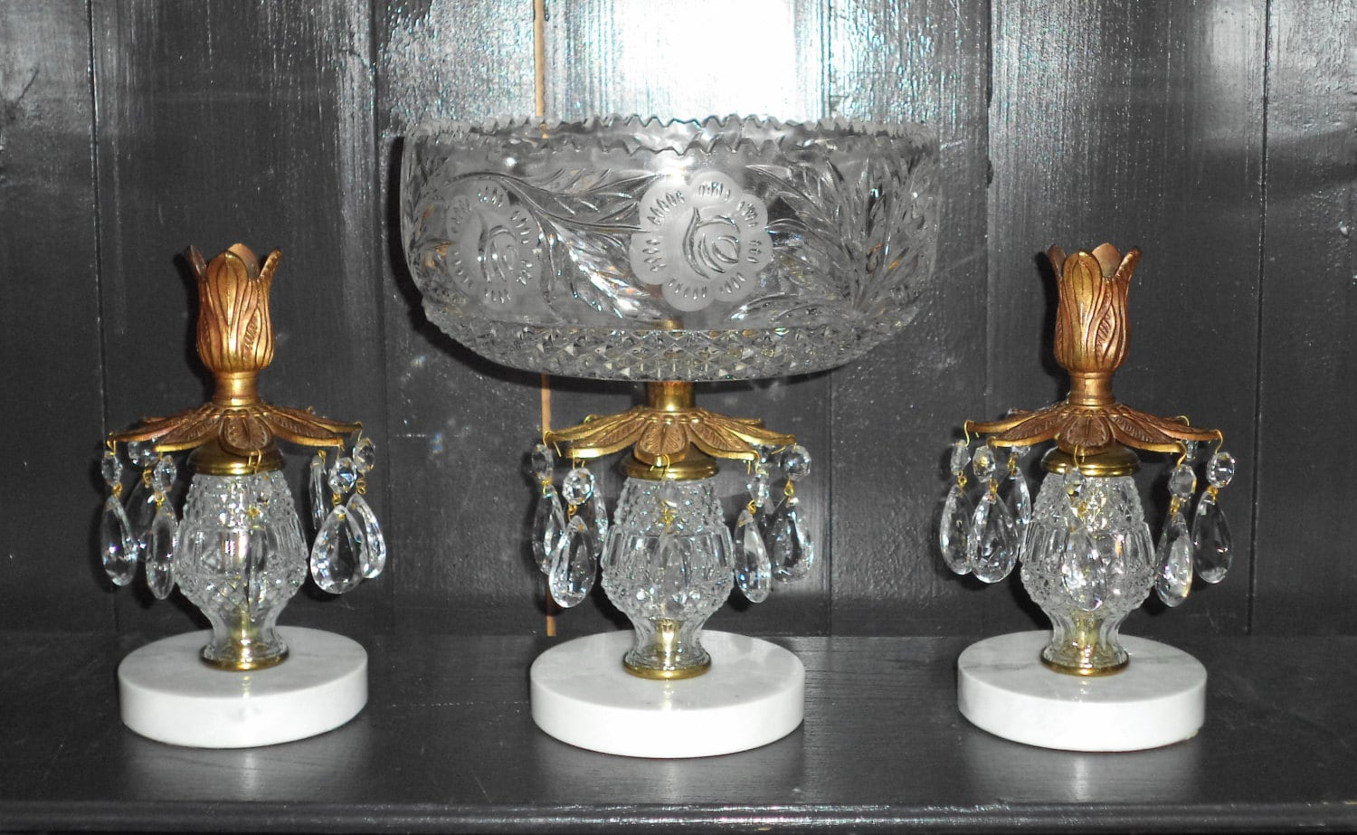 Vintage Glass Centerpiece : Antique crystal cut glass centerpiece compote candle holder