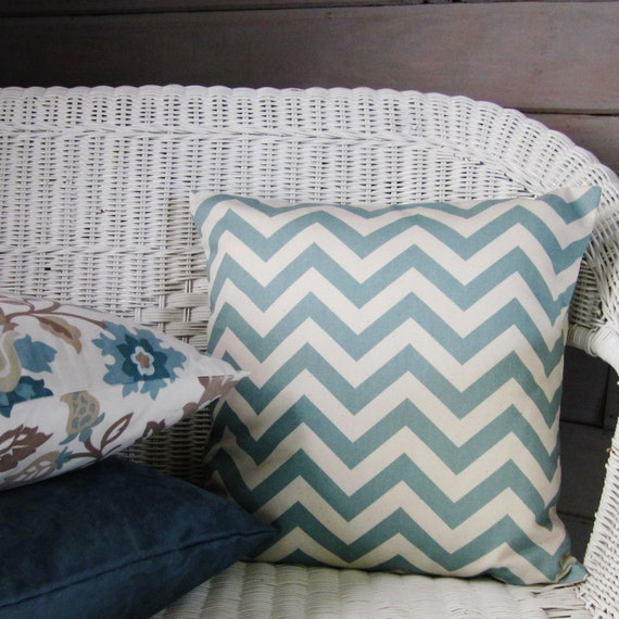 Seafoam Blue Decorative Pillows : Sale Seafoam Aqua Blue Throw Pillow Cover Cream Chevron Home