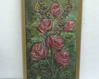 A superb rare original mixed media oil painting on board RARE