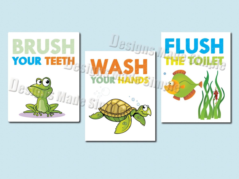 Bathroom Signs Brush Your Teeth frog turtle and fish bathroom signs set of three