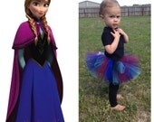 Disney's Frozen - Princess Anna Tutu - Maroon, Royal Blue, Black and Turquoise