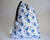 IT'S BACK!! Medium knitting project bag - Tardis swirl print