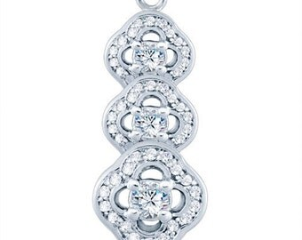 Sterling Silver Eclectic Fashion Pendant with Cubic Zirconia