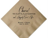 "Personalized ""Cheers"" Wedding Napkins"