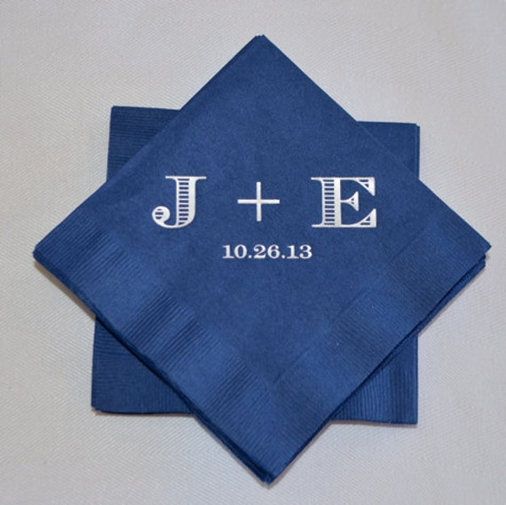Personalized Initial Wedding Beverage Napkins By GraciousBridal