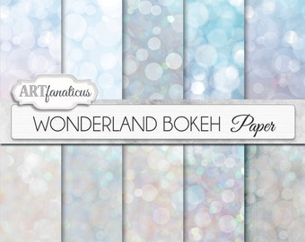 "Bokeh digital papers winter ""WONDERLAND BOKEH"" paper for photographers, scrapbooking, invitations, cards, home décor and more"