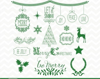 "Merry Christmas Clipart ""RED & GREEN CHRISTMAS Clip Art"" 120 clipart files, navidad, word art, xmas, ornaments,invitations, signs, postcards"