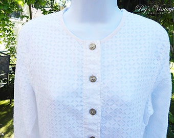 Beautiful White Cotton Linen Shirt, Long Sleeves Shirt Blouse, Vintage Fashion Clothing