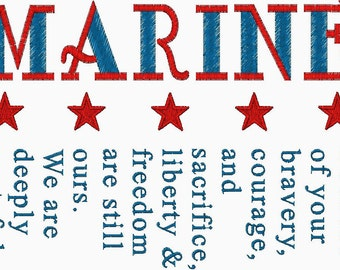 Marine Embroidery Design great Patriotic Design for Veteran's Day, Memorial day or 4th of July