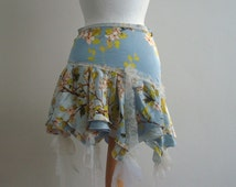 Upcycled Skirt Woman's Clothing Silk Pale Blue Blooming Flowers Bird Lace Layers Mori Girl inspired