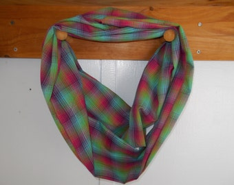 "Infinity Scarf, cotton multi-colored plaid.  Approx 5"" x 72"".  Great light weight scarf to add color  to your outfit."