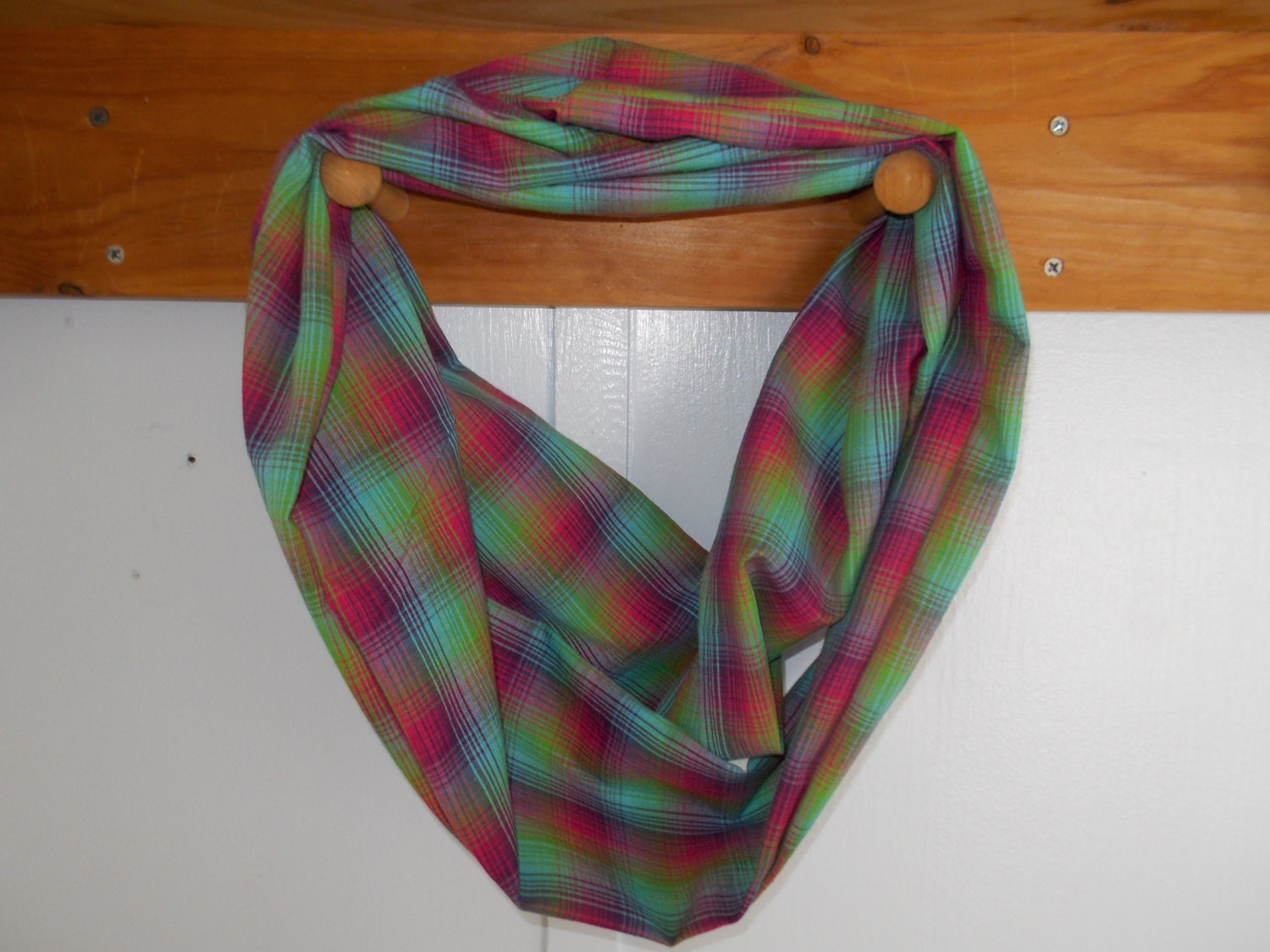 infinity scarf cotton multi colored plaid approx 5 x