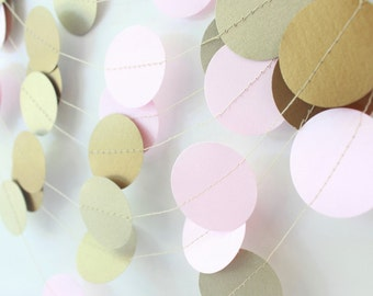 Wedding Garland, Gold & Pink Garland 10 ft - Bridal Shower, Baby Shower, Party Decorations, Pink-Gold Birthday Decor, Holiday Decor