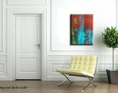 SALE Modern Abstract Art Heavy Textured Mixed Media Fine Art  Red Blue Yellow Painting