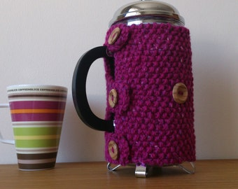 Magenta hand knitted cafetiere cosy with wooden button detail - READY to SHIP