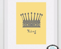 Gray King Crown on Yellow Background - INSTANT DOWNLOAD - 8X10 Digital Art Printable