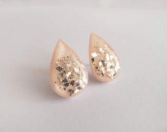 Large Light Pink Silver Drop Stud Earrings - Hypoallergenic Surgical Steel Posts