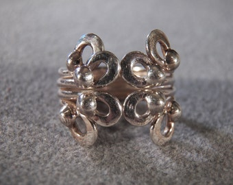 Vintage Sterling Silver  Fancy Scrolled Raise Relief  Wide Cigar Style Band Ring, Size 8