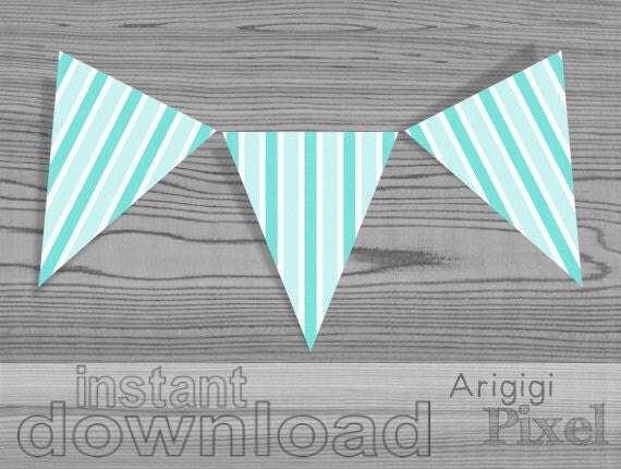 Aqua Blue Striped Party Pennants - vertical stripes - PDF file