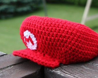 Crochet Pattern: Mario Hat - NB to Adult Sizes PDF