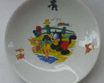 RARE Vintage 1960s German Wintering Pottery FELIX the CAT Shallow Bowl