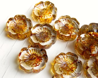 Shabby Chic Blooms - 15mm transparent czech table cut flower beads with Picasso finish (5), czech glass beads, picasso beads