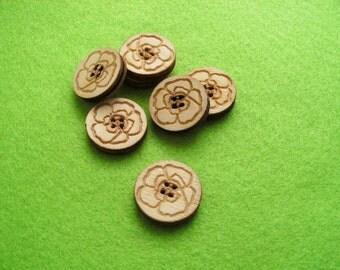 6 Wooden Buttons, 2 cm (15-0001A)