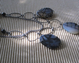 Dyed fire agate stone double chain necklace