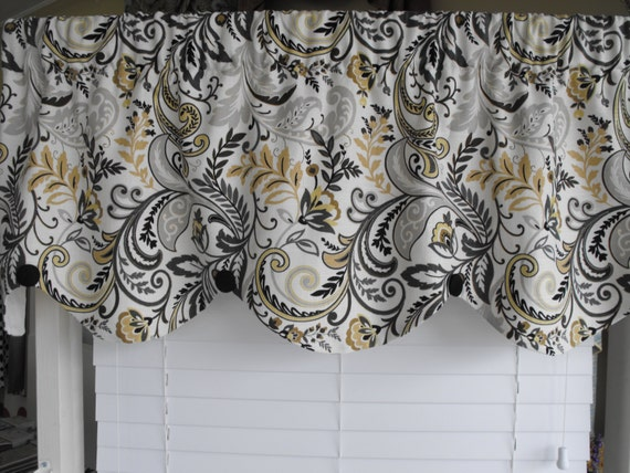 Home Decor Valance Gray Yellow Scalloped Valance By