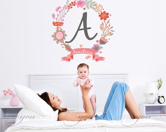 Nursery Wall Decal - Children's Wall Art Decal - Monogram Wall Decal - Girls Room Wall Decal - Vinyl Wall Decal - Nursery Decor - 02-0003