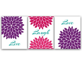 Bedroom Wall Art, Live Laugh Love, INSTANT DOWNLOAD Bath Art, Modern Bedroom Wall Decor, Purple and Pink Bedroom Decor - HOME34