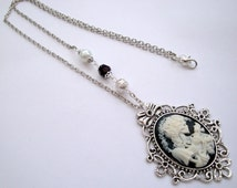 Skeleton cameo necklace Day of the Dead Gothic Lolita Skeleton Lady in white with beads