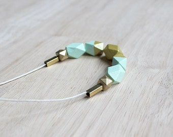 wooden geometric necklace // mint gold dipped necklace for girls, women - modern minimalist everyday jewelry